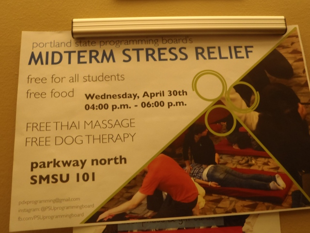 We were outraged to see the delights of Midterm Stress Relief that current students enjoy.  WHERE WAS OUR RELIEF, HUH?!